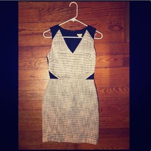 J. Crew Navy and gray tweed dress